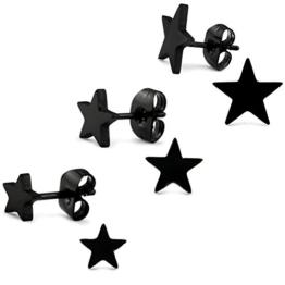 3er Set - Schwarzer Stern Ohrstecker Ohrringe Edelstahl 10mm / 7mm / 5mm für Damen und Herren (6 Stück - 3 Paar) -