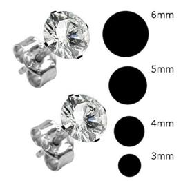 4 Paar Ohrringe Ohrstecker [Ø 3mm – Ø 4mm – Ø 5mm – Ø 6mm] Echt Sterling Silber 925 mit Zirkonia Stein rund für Damen und Herren