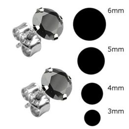 4 Paar Schwarze Ohrringe Ohrstecker [Ø 3mm – Ø 4mm – Ø 5mm – Ø 6mm] Echt Sterling Silber 925 mit Zirkonia Stein rund für Damen und Herren