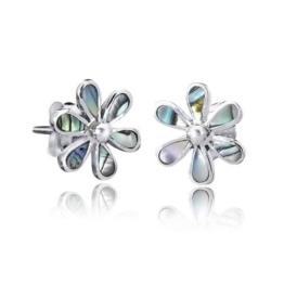 925 Sterling Silber Ohrstecker Blume / Perlmutt – Silber Ohrringe mit echtem Perlmutt / Abalone inkl. Schmuck Schachtel #SO-56