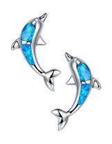 Arco Iris Schmuck Damen-Ohrstecker Delphin Sterling Silber Blau und Grün Feueropal und Zirkonia
