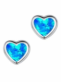 Arco Iris Schmuck Sterling Silber Herz Blau Grün Feuer Opal Ohrstecker für Damen – SC028e46