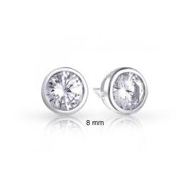 Bling Jewelry 925er Sterling Lünette Runden CZ Männer Unisex Ohrstecker 8mm