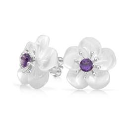 Bling Jewelry Amethyst geschnitzter Perlmutt Weiß Blume Ohrstecker Silber