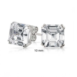 Bling Jewelry Herren CZ Quadrat Asscher Cut Ohrsteckeraus 925er Sterling-Silber 10mm