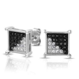 Bling Jewelry Herren Schwarz Weiß MikroPavé CZ QuadratOhrstecker925er Silber 8mm