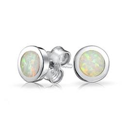 Bling Jewelry Herren Unisex Opal. Oktober GeburtssteinOhrsteckerterling-Silber