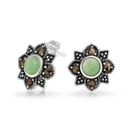 Bling Jewelry Markasit Grüne Jade Blume Ohrstecker Vintage 925 Silber
