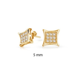 Bling Jewelry Mikro Pavé Gold Vermeil Kite Herren Ohrstecker 5mm