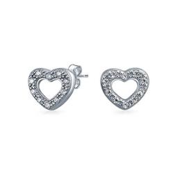 Bling Jewelry Offenes Herz Pavé Ohrstecker aus 925er Sterling-Silber