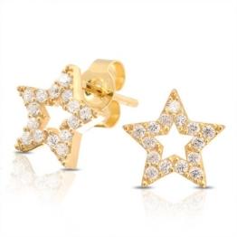 Bling Jewelry Patriotischen Pavé CZ Gold Vermeil Öffnen Stern Ohrstecker 925er Silber