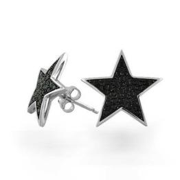 Bling Jewelry Patriotischen Schwarz Stern CZ Bolzen Herren Ohrringe MikroPavé 925er Silber
