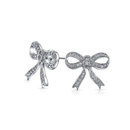 Bling Jewelry Sterling-Silber Kubische Zurconia Schleife Farbband Ohrringe
