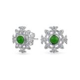 Bling Jewelry simulierten Jade CZ keltische Blume Ohrstecker 925 Sterling Silber