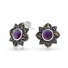 Bling Jewelry. Februar Geburtsstein Amethyst Blumen Ohrstecker 925er Silber