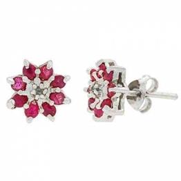 Blumen Ohrstecker / Ohrringe mit Rubin und Diamanten, Sterling Silber