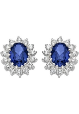 CHRIST Silver Damen-Ohrstecker 925er Silber 2 Saphire 28 Zirkonia One Size, blau