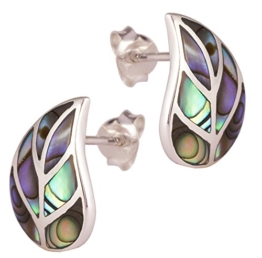 DTPsilver – Damen – Ohrringe 925 Sterling Silber und Abalone Paua Muschel Ohrstecker – Blatt