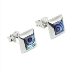 DTPsilver -Damen – Ohrringe 925 Sterling Silber und Abalone Paua Muschel Ohrstecker