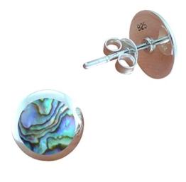 DTPsilver -Damen – Ohrringe 925 Sterling Silber und Abalone Paua Muschel Ohrstecker – Runde