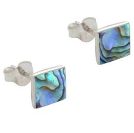 DTPsilver -Damen – Ohrringe 925 Sterling Silber und Abalone Paua Muschel Quadrat Ohrstecker