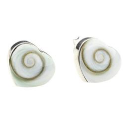 DTPsilver -Damen – Ohrringe 925 Sterling Silber und Shiva Auge Muschel Herz Ohrstecker 7 x 7 mm
