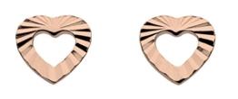Dew Damen-Anhänger Sterling-Silber Vergoldet Diamantschliff-Ohrstecker offenes Herz Ohrringe