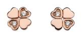 Dew Halskette Sterling-Silber 925 Zirkonia-Ohrringe Kleeblatt