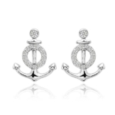 EVER FAITH® 925 Sterling Silber Cubic Zirconia nautisch Anker Stud Ohrringe Ohrstecker N07134-1