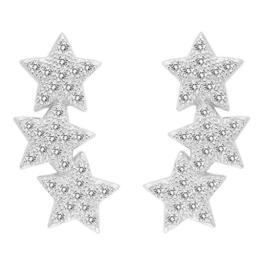 EVER FAITH® 925 Sterling Silber Cubic Zirkonia Schiessen Stern Design Ohrstecker Cuff Stud Ohrringe 1 Paar N07220-1
