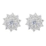 EVER FAITH® 925 Sterling Silber Full Cubic Zirkonia Holiday Geschenk Schneeflocke Blume Ohrstecker Ohrringe klar N07247-1