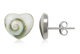 EYS Damen-Ohrringe Herzen Shiva-Auge 10 x 10 mm 925 Sterling Silber weiß im Etui Muschel-Ohrstecker