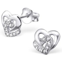 EYS Damen-Ohrringe Herzen Zirkonia 8 x 8 mm 925 Sterling Silber weiß im Etui Damen-Ohrstecker