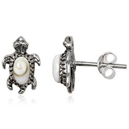 EYS Damen-Ohrringe Schildkröten Shiva-Auge 12 x 8 mm 925 Sterling Silber weiß im Etui Muschel-Ohrstecker