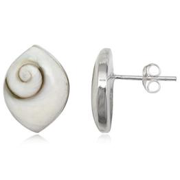 EYS Damen-Ohrringe Shiva-Auge 16 x 12 mm 925 Sterling Silber weiß im Etui Muschel-Ohrstecker