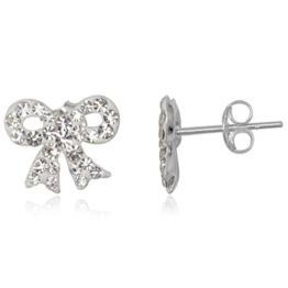 EYS Glitzer Damen-Ohrringe Schleifen Preciosa Elements 10 x 12 mm 925 Sterling Silber weiß im Etui Kristall-Ohrstecker
