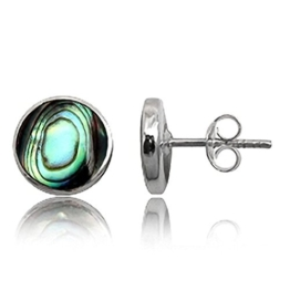 EYS JEWELRY® Damen-Ohrringe Kreis rund 10 x 10 mm Abalone Paua Muschel 925 Sterling Silber grün-blau türkis im Etui Damenohrstecker