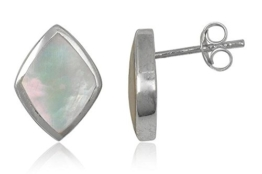 EYS JEWELRY® Damen-Ohrringe Rauten 14 x 10 mm Perlmutt Muschel 925 Sterling Silber weiß im Etui Damenohrstecker
