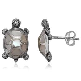 EYS JEWELRY® Damen-Ohrringe Schildkröten 16 x 10 mm Perlmutt Muschel 925 Sterling Silber weiß im Etui Damenohrstecker