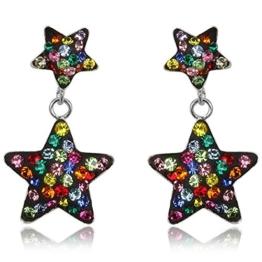 EYS JEWELRY® Damen-Ohrringe Sterne 27 x 15 mm Preciosa Elements Glitzer Kristalle 925 Sterling Silber mehrfarbig bunt im Etui Damenohrstecker