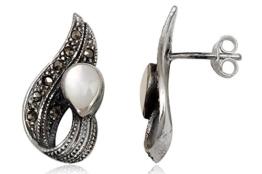 EYS exklusive Damen-Ohrringe Perlmutt Markasit 925 Sterling Silber weiß im Etui Damen-Ohrstecker Muschel