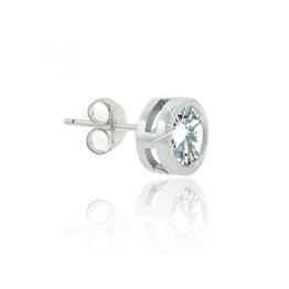 Eleganter 8mm großer Herren Ohrring / Ohrstecker mit Zirkonia Diamanten, Sterling Silber