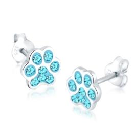 Elli Damen-Charm Pfote 925 Sterling Silber Swarovski Kristall blau Brillantschliff 303181212