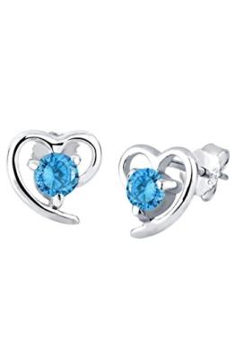 Elli Damen-Ohrstecker Herz 925 Sterling Silber Zirkonia blau Brillantschliff 3200521