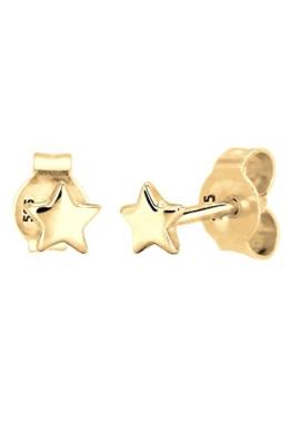 Elli PREMIUM Damen-Ohrstecker Sterne 585 Gelbgold 925 Silber – 0309642215
