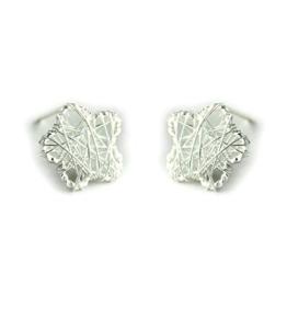Fashion 925 Sterling Silber Einfach Design Nette Hohl Stern Form Ohrstecker für Damen