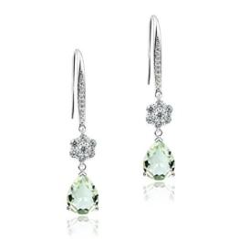 Frauen 925 Sterling Silber 4,66 karat natürlichen grüne amethyst Blumen Ohrstecker Ohrringe von Dormith®