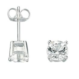 Fred Bennett Herren-Ohrstecker 925 Sterling Silber Kristall Swarovski-Kristall E2657C Ohrstecker mit klarem Kristall