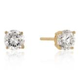 Isady – Cilli Gold – Damen Ohrringe – Ohrstecker – 6 mm – Sterling-Silber 925 und 585 Gelbgold platiert – Zirkonia Transparent