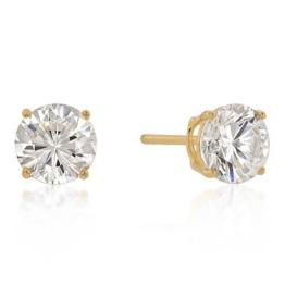Isady – Cilli Gold – Damen Ohrringe – Ohrstecker – 7 mm – Sterling-Silber 925 und 585 Gelbgold platiert – Zirkonia Transparent